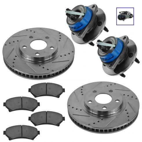 00-05 GM Multifit Front Hub, Ceramic Brake Pad & Performance Rotor Kit