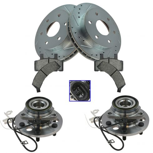 Axles 1995-1999 Chevy GMC K1500 Pads FRONT Brake Rotors Wheel Bearings