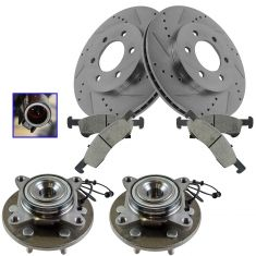03-06 2wd Ford Explorer; Lincoln Navigator Front Posi Ceramic Brake Pad, Performance Rotor & Hub Kit