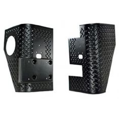 97-06  Jeep Wrangler (exc Unlimited) Diamond Txt Black Plastic Rear Body Armor Tall Corner PR (Rug R