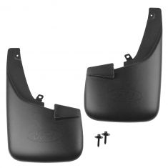 2011-16 Ford F250 F350 Front Molded Splash Guard Pair Black (w/ wheel lip moldings)