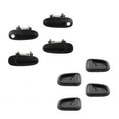 93-97 Corolla, Prizm Front & Rear Black Outside & Dark Brown Inside Door Handle Kit (Set of 8)