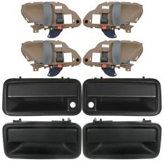 95-01 Chevy GMC Pickup, SUV Front & Rear Textured Black Outside & Gray Inside Door Handle (Set of 8)