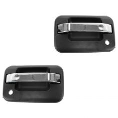 04-13 Ford F150 Front Chrome & Textured Black Outside Door Handle PAIR (RH w/Keyhole)