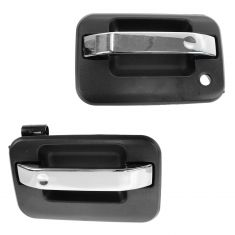 04-13 Ford F150 Front Chrome & Textured Black Outside Door Handle PAIR (RH w/o Keyhole)