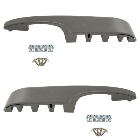 03-14 Chevy Express, GMC Savana Front Door Pewter Inner Armrest/Pull Handle Cover & Base Kit PAIR
