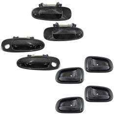 93-97 Corolla, Prizm Front & Rear Black Outside & Black Inside Door Handle Kit (Set of 8)