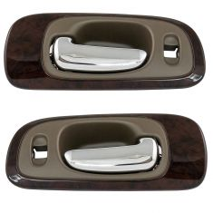 98-04 Chrysler Concorde Chrome & Beige (w/ wood) Interior Door Handle Pair