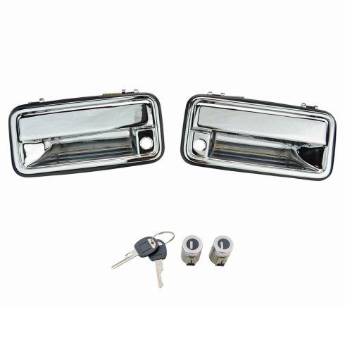 Door Lock Cylinder with Key for Chevrolet C1500 C2500 GMC K1500 K2500 Pair