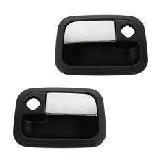 01-10 Kenworth T; 01-11 Peterbilt 3 Srs (w/Daylight Door) Frnt Outer Chrome & Black Door Handle PAIR