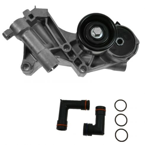 Serpentine Belt Tensioner Assembly with Heater Hose Elbows
