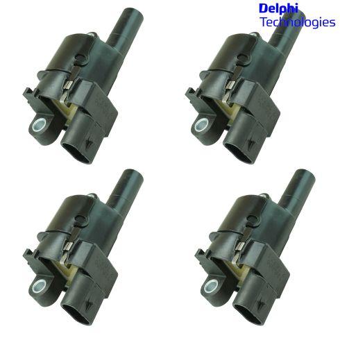 05-13 GM, Hummer, Saab Multifit w/V8 (Delphi - Round Style) Ignition Coil Set of 4 (Delphi)