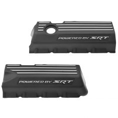 11-15 Challenger, Charger, 300 w/6.4L Black ~Powered by SRT~ Logoed Engine Valve Cover PAIR (Mopar)
