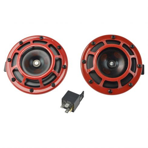 Supertone Universal 12V High Tone/Low Tone Twin Horn Kit (Red) (Hella)