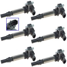 04-09 Buick, Cadillac, Chevy, GMC, Saturn Multifit 2.8L, 3.6L Ignition Coil Set of 6 (Delphi)