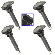 06-14 Audi; 08-14 VW Multifit w/2.0L (Bosch Style) Engine Ignition Coil Set of 4(Volkswagen)