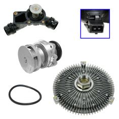 99-06 BMW Multifit Radiator Fan Clutch, Water Pump w/Metal Impellar, Plastic Tstat Housing