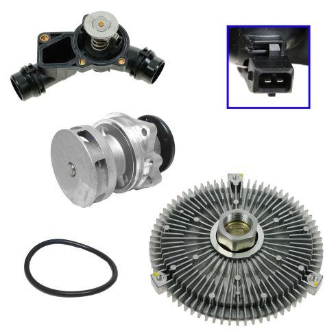 99-06 BMW Multifit Radiator Fan Clutch, Water Pump w/Metal Impellar, Plastic Tstat Housing