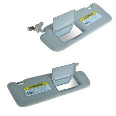 06 (from 10/11/05)-08 (to 1/31/08) Sonata (w/Sunroof) Lighted w/Mirror Gray Sun Visor PAIR (Hyundai)