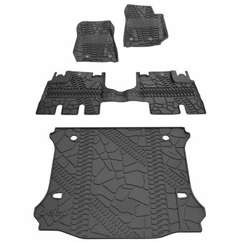 14-15 Jeep Wrangler 4 Door Front, Rear, & Cargo Molded Black Rubber Floor Mat (Set of 4) (MOPAR)