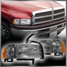 94 01 Dodge Pu Headlights W Marker Pair