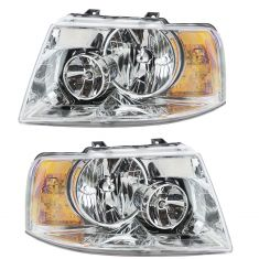 03-06 Ford Expedition (w/Chrome Background) Headlight PAIR