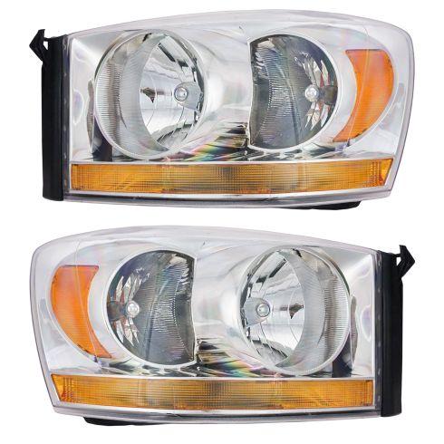 06-08 Dodge Pickup Headlight w/Chrome Bezel & Amber Bar PAIR