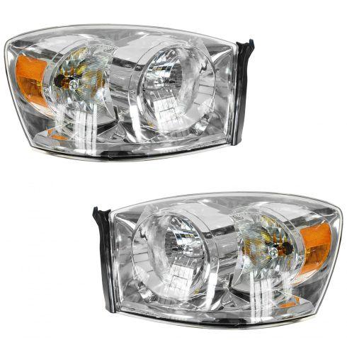 06-08 Dodge Ram PU Headlight w/o Amber Bar PAIR