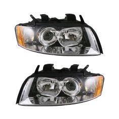 02-05 Audi A4 S4 Non-HID Headlight Pair