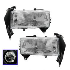 97-04 Dodge Dakota; 98-03 Durango Headlight Globe w/Mounting Panel PAIR