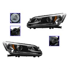 13 Honda Accord Sedan Halogen Headlight PAIR