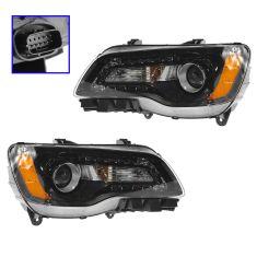 11-14 Chrysler 300 Halogen Headlight w/Black Bezel PAIR