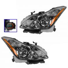 08 Infiniti G37; 09-10 G37 Coupe & Conv HID Headlight w/Bulbs & Ballast (w/o Adaptive Lamps) PAIR
