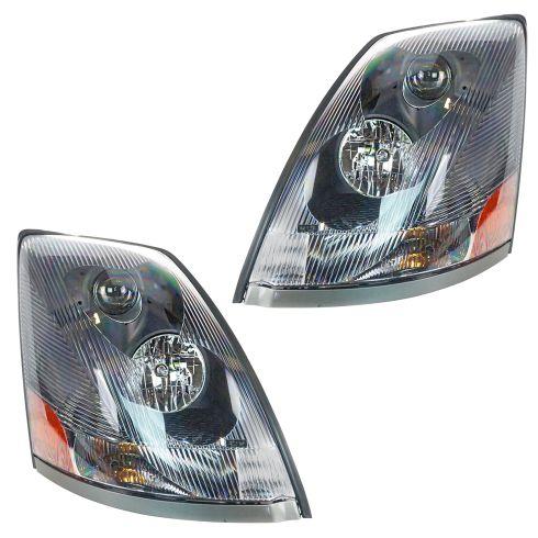 04-14 Volvo VNL 200 300 430 630 670 730 780 Series w/Black Bezel & NonProtruding Lens Headlight PAIR