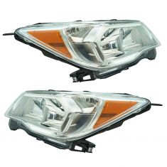 14-16 Subaru Forester 2.5L Halogen Headight Chrome Trim Pair