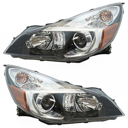 13-14 Subaru Legacy Headlight w/ Black Accent LH & RH Pair