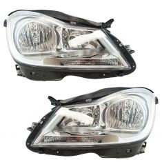 12-14 Mercedes Benz C-Class Halogen Headlight w/ Chrome Housing LH