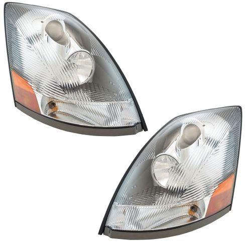 04-18 Volvo VNM, VNL; 04-14, VN Headlight w/Chrome Housing & Aero Lens PAIR