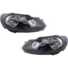 10-14 Volkswagen Golf GTI Halogen Headlight Pair