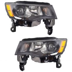 17-18 Jeep Grand Cherokee Halogen Headlight Black Pair