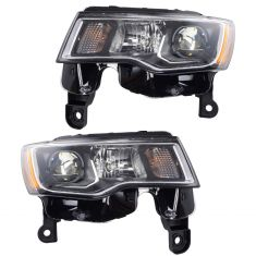 17-18 Jeep Grand Cherokee Halogen Headlight Chrome Pair