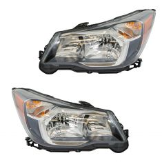 14-16 Subaru Forester 2.0L Halogen Headight Black Trim Pair
