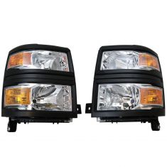 14-15 Chevy Silverado 1500 Black Headlight Pair