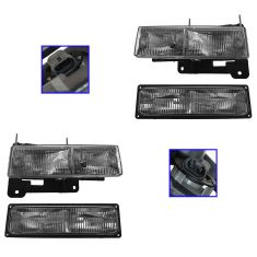 94-01 Chevy and GM Pickup Suburban Tahoe Yukon Headlight and Park Light Set