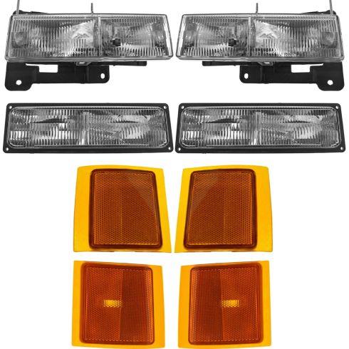 94-02 Chevy C/K Truck SUV Multifit Front Headlight Parking Turn Signal Marker SET