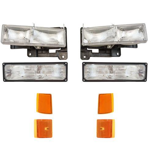 94-02 GMC Jimmy Yukon CK Truck Headlight, Parking & Turn Signal Light Set