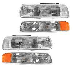 99-02 Chevy Silverado Headlights & Park Light Set