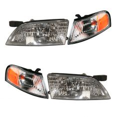98-99 Nissan Altima Headlight & Fdr Mtd Park Light Set of 4