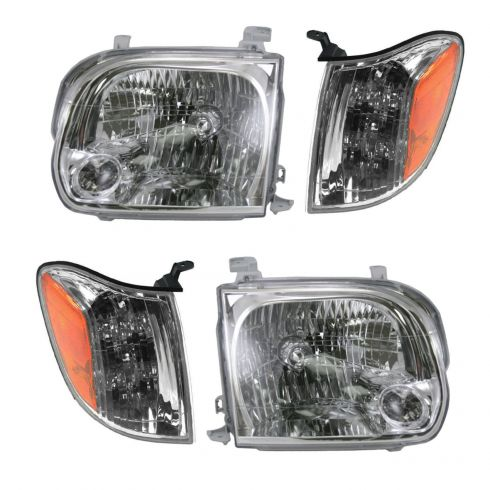 05-06 Toyota Tundra Double Cab; 05-07 Sequoia Headlight & Corner Light Kit (Set of 4)