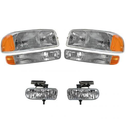 99-02 Sierra; 00-06 Yukon Headlight, Parking Light, & Fog Light Kit (Set of 6)